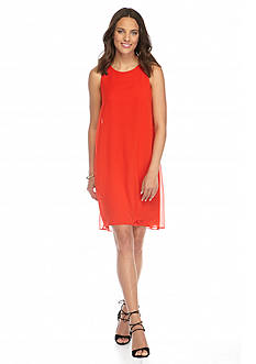 Vince Camuto Solid Chiffon Shift Dress