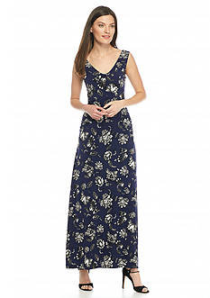 Vince Camuto Wood Block Floral Maxi Dress