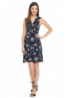 Vince Camuto Sleeveless Wood Block Floral Wrap Dress