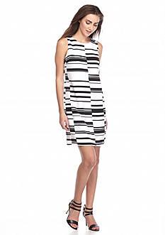 Vince Camuto Stagger Stripe Shift Dress