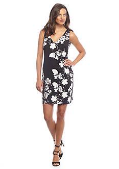 Vince Camuto Floral V-Neckline Dress