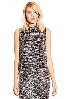 Vince Camuto Sleeveless Graphic Flutter Mock