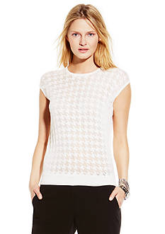 Vince Camuto Short Sleeve Burnout Houndstooth Sweater