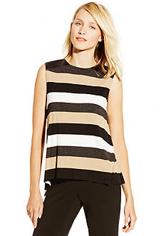 Vince Camuto Chalk Stripe Pleather Top