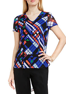 Vince Camuto Graphic Print High Low Shirttail Blouse
