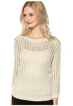 Vince Camuto Open Stitch Lurex Sweater