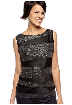 Vince Camuto Tiered Mix Media Glitter Top