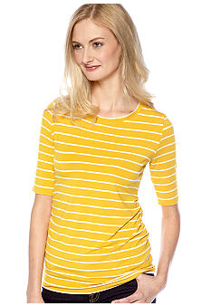 Vince Camuto Ruched Scoop Neck Stripe Top