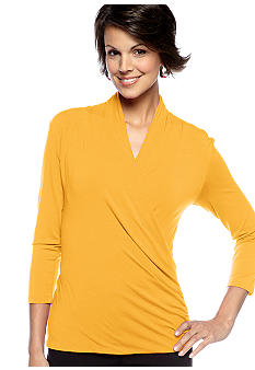 Vince Camuto Three-Quarter Sleeve Wrap Top