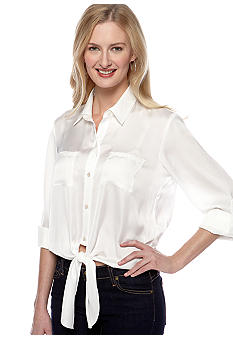 Vince Camuto Long Sleeve Tie Waist Button Down Blouse