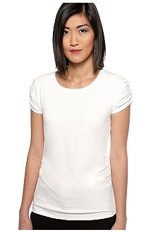 Vince Camuto Cap Sleeve Ruched Scoop Neck Tee