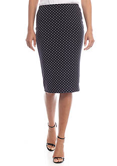 Vince Camuto Pin Dot Midi Pencil Skirt