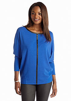 Vince Camuto Plus Size Jersey and Pleather Trim Saturday Shirt