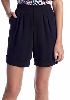 CHAUS Pleat Front Cuffed Crepe Short