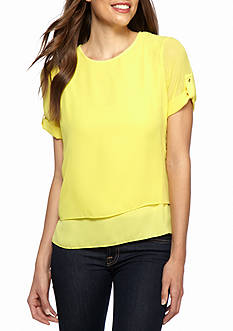 CHAUS Solid Double Layer Blouse