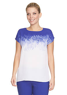 CHAUS Short Sleeve Reef Exposure Blouse