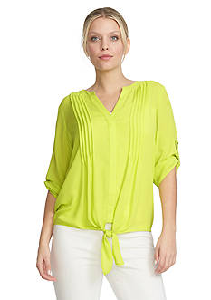 CHAUS Tie Front Pintuck Blouse
