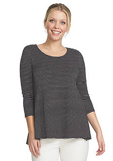 CHAUS Stripe Scoop Neck Knit Top