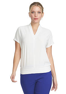CHAUS Short Sleeve V-Neck Banded Top