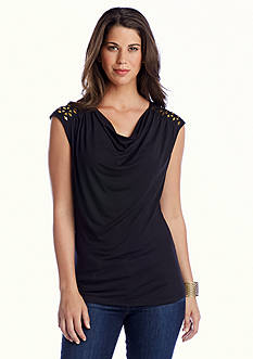 CHAUS Sleeveless Drape Neck Embroidered Top