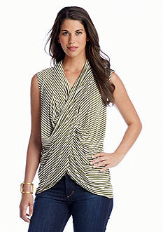 CHAUS Sleeveless Drape Front Stripe Top