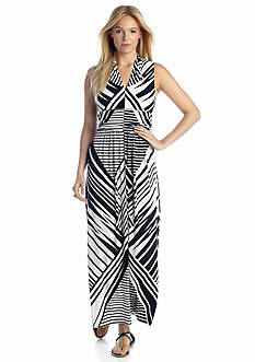 CHAUS Graphic Flash Halter Maxi Dress