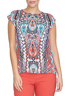 CHAUS Sleeveless Print Top