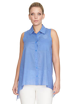 CHAUS One Pocket Linen Blouse
