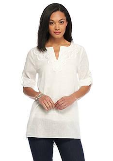 CHAUS Crochet Linen Shirt