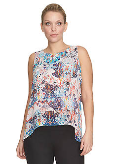 CHAUS Sleeveless Tiered Medallion Print Top
