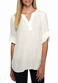 CHAUS Roll Sleeve Solid Blouse