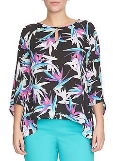 CHAUS Print Three Quarter Sleeve Blouse