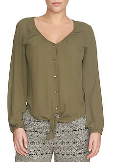 CHAUS Solid Tie Front Blouse