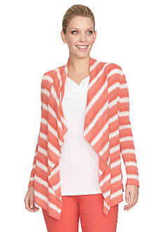 CHAUS Long Sleeve Multi Striped Knit Top