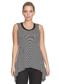 CHAUS Stripe Knit Tunic Top
