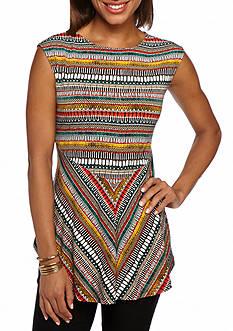 CHAUS Jersey Knit Print Top