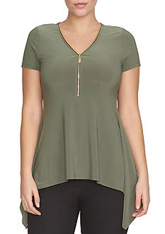 CHAUS Solid Short Sleeve Tunic Top