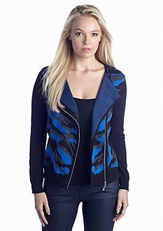 CHAUS Asymmetrical Zip Sweater