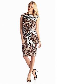 CHAUS Sleeveless Knot Animal Print Dress
