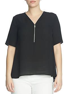 CHAUS Short Sleeve V-Neck Blouse