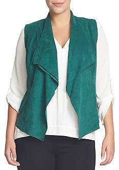 CHAUS Sleeveless Open Front Faux Suede Vest
