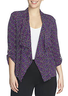 CHAUS Print Open Front Jacket