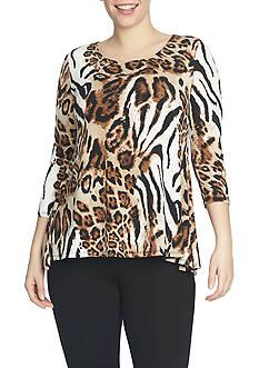 CHAUS Animal Print Knit Top