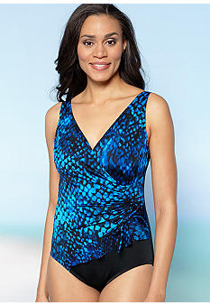 Longitude Blue Cheetah Surplice One Piece