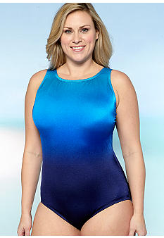 Longitude Plus Size Ombre High Neck One Piece