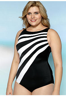 Longitude Plus Size Color Block Hi Neck Tank One Piece