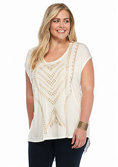 Jessica Simpson Plus Size Embroidered Lavi Top
