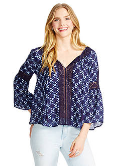 Jessica Simpson Alaya Eclipse Flower Peasant Top