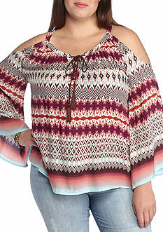 Jessica Simpson Plus Size Shayna Cold Shoulder Top
