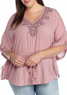 Jessica Simpson Plus Size Tristan Embroidered Top